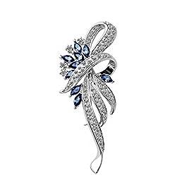 Merdia Created Crystal Brooch Fancy Vintage Style Flower Brooch Pin for Women, girls, ladies Blue co