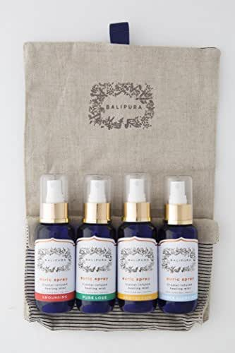 "Healing Crystal Auric Blends with Organic Pure Essential Oils. Gift set: ""Pure Love"", ""Protection"", ""Space Clearing"" & ""Grounding"". Aura Mist made in Bali. 4 x 100 ml/3.4 fl.oz in a Linen Bag"