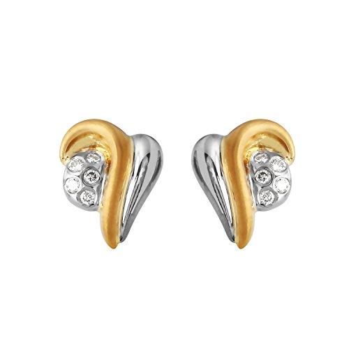0.15 Carat Natural Diamond 22K Two Tone Gold Earrings for Women