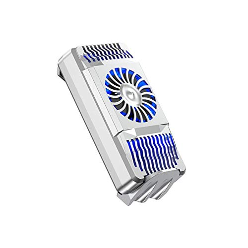 farawamu Phone Cooler, Portable Universal Mobile Phone Gaming Radiator USB Cooler Heat Sink Cooling Fan, Birthday Gift Silver
