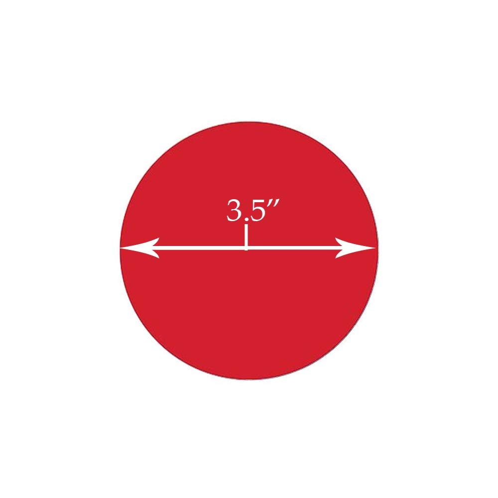 5S Location Marking Circle, 3.5'' Durable Circular Shaped Floor Sticker - by Graphical Warehouse - Vibrant Colors, Circular, (25 Pack) Red