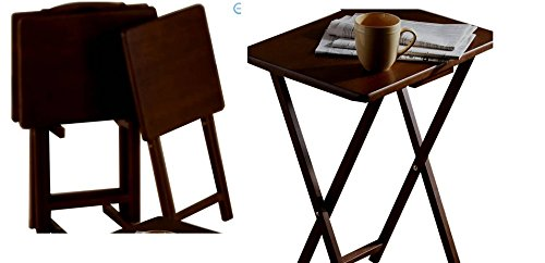Mainstays 5pc Tray Table Walnut product image