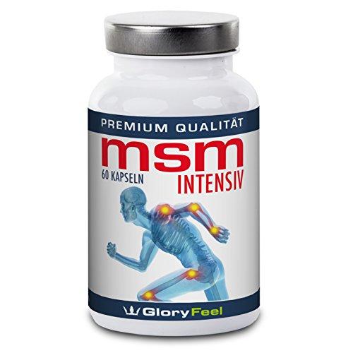 MSM Kapseln Intensiv 1.600 mg - 60 Hochdosierte organischer Schwefel-Kapseln: 99,9 % Reines MSM (Methylsulfonylmethan) - MSM Schwefel-Pulver + Vitamin C und Selen - Premiumqualität Deutscher Herstellung