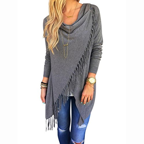 Clothing (Sunward Fashion Womens Tassel Slash Tops Long Sleeve T-shirt Blouse Sweatshirt (XL,)