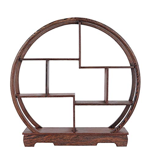 - Wall Shelf, Home Carving Crafts Rack Antique Display Rack Chinese Teapot Display Stand Crafts Antique Ornaments Flower Pot Rack Desk Decoration(Round)