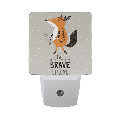 ALAZA 2 Pack Cartoon Fox Be Brave Quotes LED Night Light Dusk to Dawn Sensor Plug in Night Home Decor Desk Lamp for Adult