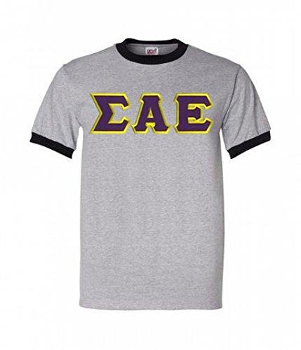 - Sigma Alpha Epsilon Lettered Ringer Shirt XXX-Large Grey w/Black Trim