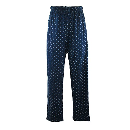 Hanes Men's Cotton ComfortSoft Printed Knit Pants, Medium, Light Blue Printed Lounge Pants