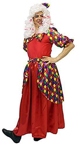 CL COSTUMES Pantomime-Ugly Sister Red Panto Dame Full Costume With Wig - Plus Sizes From S To XXXXL (Medium) ()