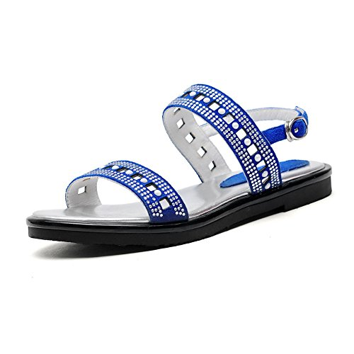AmoonyFashion Womens Solid Frosted Low-heels Open Toe Buckle Sandals Blue EsQ3qOTzx