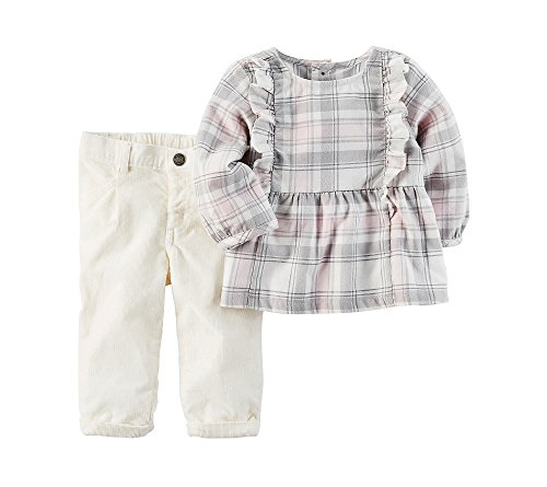 Carter's Baby Girls' 2 Piece Flannel Top And Corduroy Pants Set 18 Months (Corduroy Girls Pants)