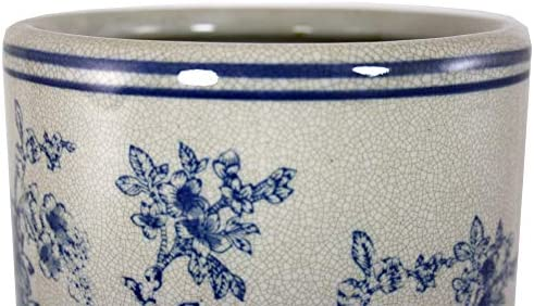 Geko Vintage Blue and White Magnolia Design Ceramic Umbrella Stand