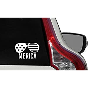 Sunglasses Flag Merica Text Car Die Cut Vinyl Decal Bumper Sticker for Car Truck Auto Windshield Wall Window Ipad Tablet Macbook Laptop Computer Home Custom and More (White)