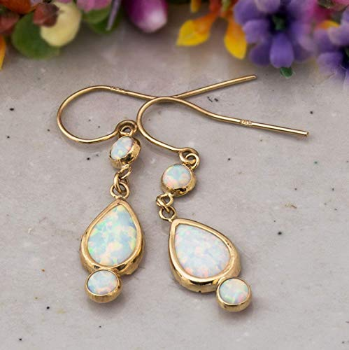 (14K Gold White Opal Earrings - 14K Solid Yellow Gold Earrings, 3 Opal Stones: Main Stone 7x10mm and two 4mm Stones, Dainty Dangle Drop Earrings, October Birthstone, Handmade Bridal Wedding Jewelry )