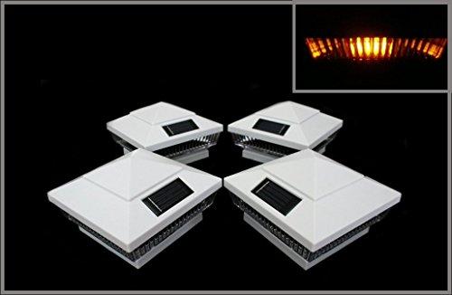 4-Pack Solar White Post Deck Fence Cap Lights for 4