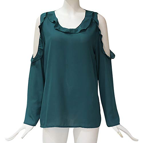 Tonsee Couleur Mousseline Hauts Dames Blouse Shirt Mode Hors Volants Casual Loose Vert De Automne en paule Womens Soie Solide rZxTwIqr