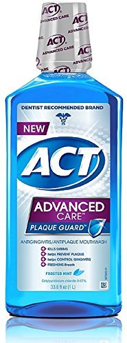 ACT Advanced Care Plaque Guard Mouthwash, Frosted Mint 33.80 oz (Pack of 2)
