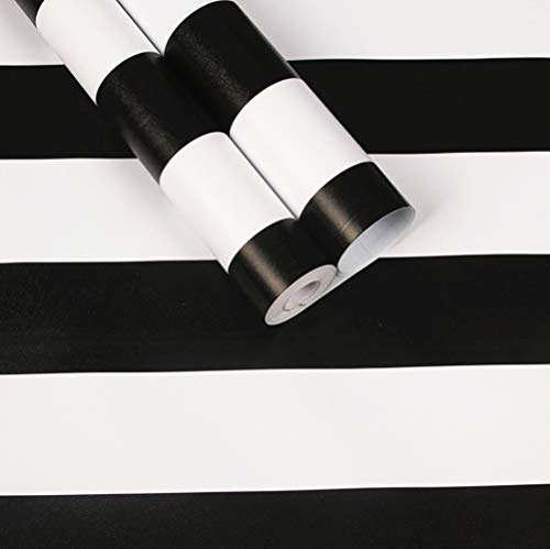 (Emoyi White & Black Striped Wallpaper Self-Adhesive Shelf Drawer Liner 17.7 Inch by 98 Inch)