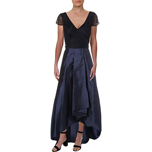 Adrianna Papell Women's Beaded Dress with high-Low Silky Taffeta Skirt, Navy, ()