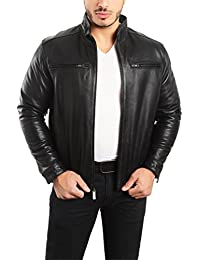 EST. 1950 Mens Jacket Genuine Lambskin Leather Stand UP Collar Winners Coat