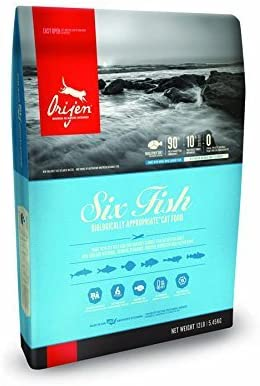 Orijen Six Fish Dry Cat Food 12 lb. Bag. Made with Fresh Pacific Pilchard, Hake, Mackerel, Flounder, Rockfish Sole.