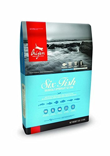 Orijen Six Fish Dry Cat Food 12 lb. Bag. Made with Fresh Pacific Pilchard, Hake, Mackerel, FLOUNDER, Rockfish & Sole, Grain Free Cat ()