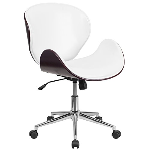Flash Furniture Mid-Back Mahogany Wood Swivel Conference Chair in White Leather (Managerial Mid Back Leather Chair)