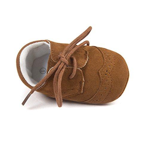 ESTAMICO Baby Boys Shoes Prewalker PU Sneakers Dark Brown 6-12 Months (Brown Baby Shoes)