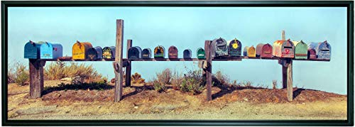 12 x 36 inch framed panoramic canvas gallery wrapped photograph of a group of colorful painted mailboxes