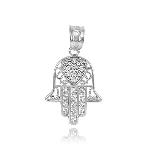 Middle Eastern Jewelry Solid 14k White Gold Diamond-Accented Heart Filigree-Style Hamsa Charm Pendant