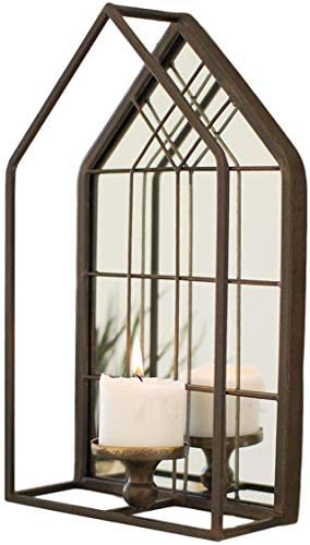 Kalalou CMNQ1004 House Shape Wall Mirror with Candle Holder