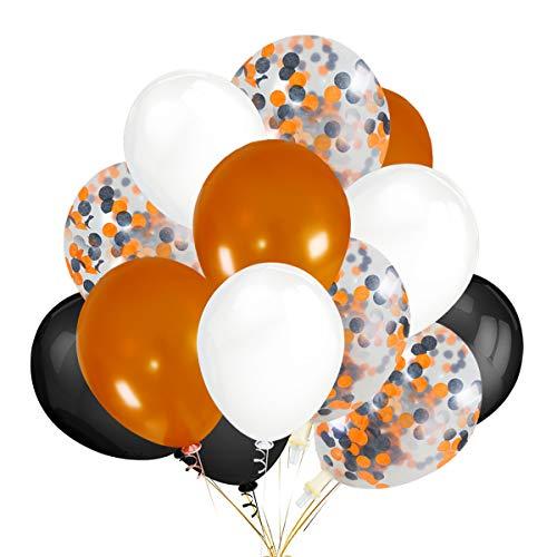 30Pcs Orange & Black & White Latex Balloons and 12Pcs Orange & Black Confetti Balloons for Halloween Party Decoration for $<!--$12.99-->