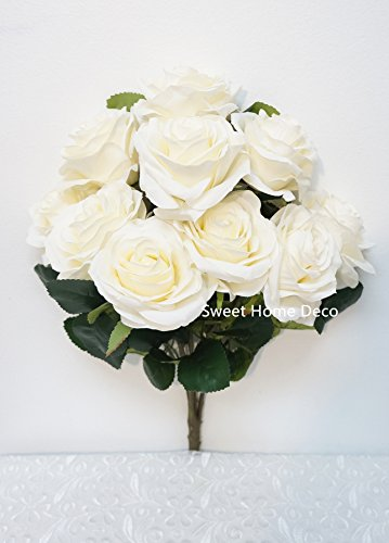 Beautiful Rose Bouquet - Sweet Home Deco 18'' Princess Diana Rose Silk Artificial Flower Valentine's Day (10 Stems/10 Flower Heads), the Most Beautiful Roses for Wedding/Home Decor (Ivory)