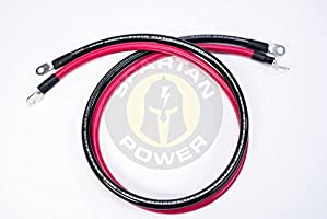 5 FT 5//16 Ring Terminals Red 5 Foot 4//0 AWG Battery Cable by Spartan Power 0000 Gauge Positive Only