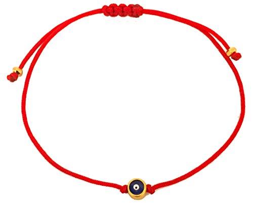 The Artsy Nomad Unisex Tiny Evil Eye Of Protection Red String Bracelet 22K Gold Plated; - 22k Bracelet