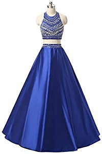 Himoda Women's Two Pieces Beaded Evening Gowns Satin Sequined Prom Dresses Long H052