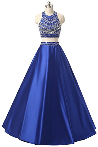 Himoda Women's Two Pieces Beaded Evening Gowns Satin Sequined Prom Dresses Long H052 6 Royal (Beaded Satin Evening Dress)