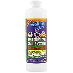 Amazing Small Animal Cage Cleaner - Just Spray/Wipe - Easily Removes Messes & Odors Hamsters,Mice,Rats,Guinea Pigs, Ferrets Veterinarian Approved USA Made