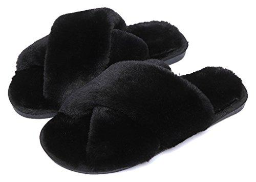 FreLO Cute Crossed Slippers Upper Women Fluffy Plush Black Slippers aR4zaArn