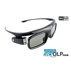 Hi-SHOCK Dual Play DLP Link 3D glasses Black Jade | 3D-Active-Shutter-glasses for all FullHD/HDR 3D-DLP projectors by Acer, BenQ, Optoma, Viewsonic, Philips, LG, Infocus, NEC, Jmgo, Vivitek