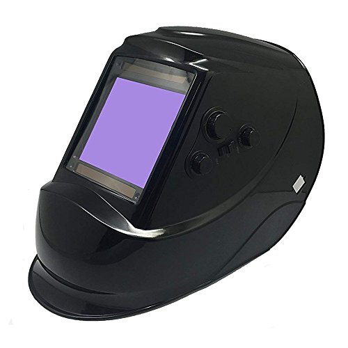 Solar Powered Welding Helmet LYG-M810H, ANSI Certified Auto Darkening Hood with High Optical Class 1/1/1/2, Adjustable Shade Range 4/5-9/9-13, Extra Extra Extra Large Viewing Area for ARC TIG MIG MMA (Best Rated Auto Darkening Welding Helmets)