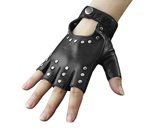 Womens Girls Rivet Biker Rock Party Fingerless Half Finger Leather Gloves - Kid Leather Driving Gloves