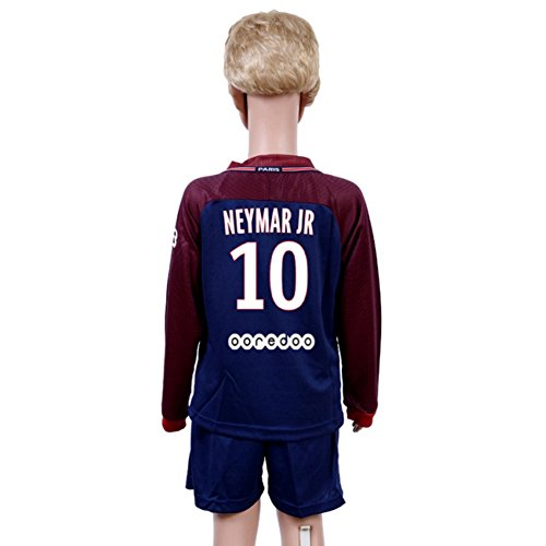 Long Sleeve Neymar Jr #10 Paris Saint Germain PSG Home Blue 17/18 Kids/Youth Soccer Jersey & Shorts 7-8Years – DiZiSports Store