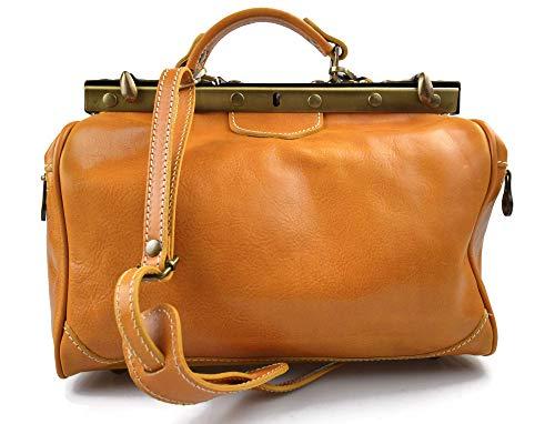 Bolso mujer de cuero doctor bag bolso doctor en piel bolso de mano bolso de espalda de cuero bandolera en piel amarillo