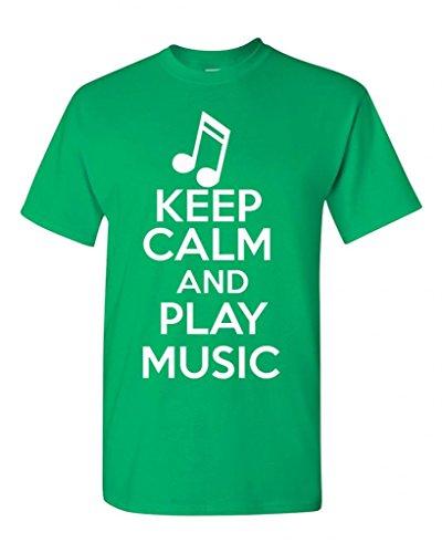 Ptshirt.com-19303-Keep Calm And Play Music Musician Novelty Statement Unisex Adult T-Shirt Tee (X Large, Irish Green)-B00LP0821I-T Shirt Design