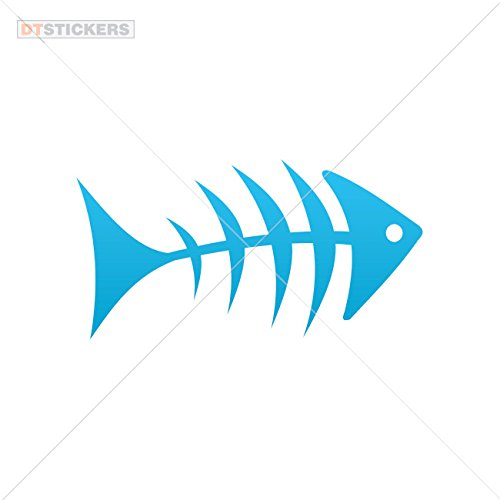 Vinyl Stickers Decal Fishbone For Helmet waterproof humor seabass skull crab (6 X 3,12 Inches) Blue