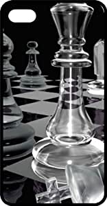 MMZ DIY PHONE CASEClear Chess Pieces & Board Black Rubber Case for Apple ipod touch 5