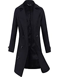 4d483ade5c69 Men Trench Coat Winter Long Jacket Double Breasted Overcoat