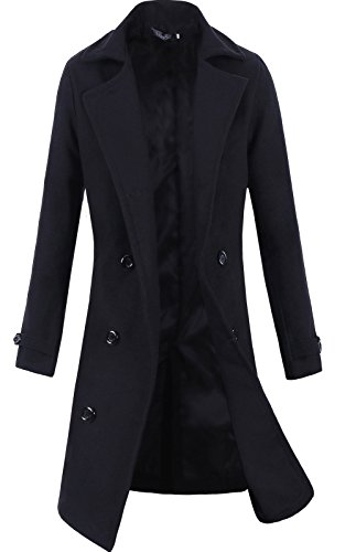 Lende Men's Trench Coat Winter Long Jacket Double Breasted Overcoat Black XL