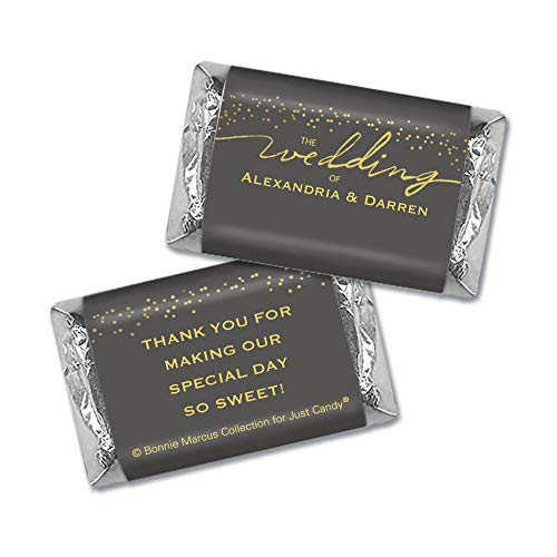 Wedding Candy Personalized Hershey's Miniatures Gold Favors (60 Count)